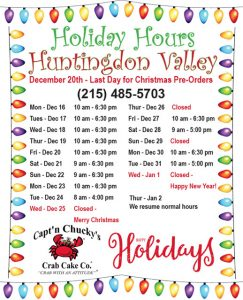 captn chuckys huntingdon valley holiday hours