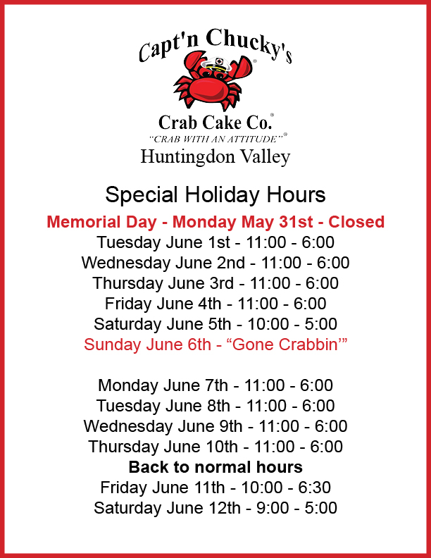 Huntingdon Valley Special Hours Memorial Day new
